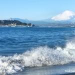 稲村ケ崎で富士山と江ノ島