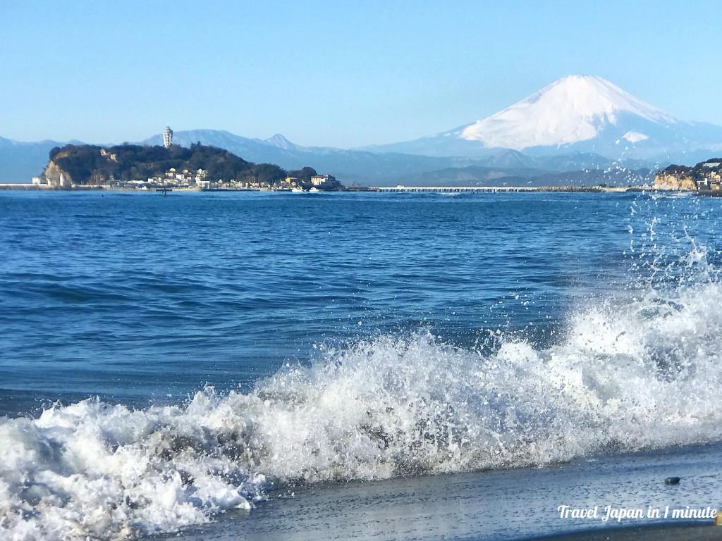 富士山&江ノ島がくっきり、稲村ケ崎