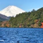 芦ノ湖と富士山と鳥居