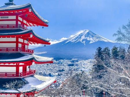 新倉山浅間公園の冬景色